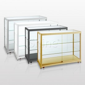 ROOJE White Aluminium Movable Tempered Glass Counter IS303