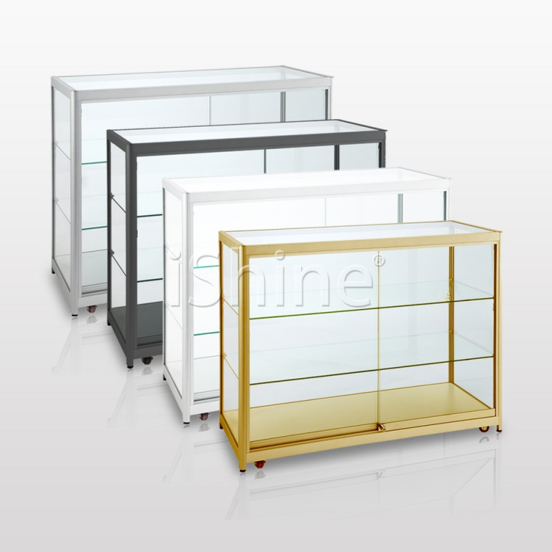 MEZA White Movable  Glass Counter IS307