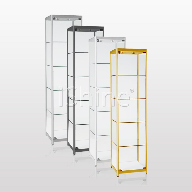Jedan Standing White Aluminium Glass Cabinet Is327