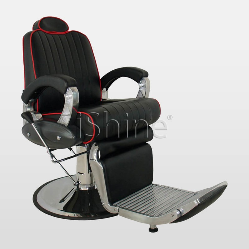 ANDRIC Black Hydraulic Barber Chair with Red Lining IS010