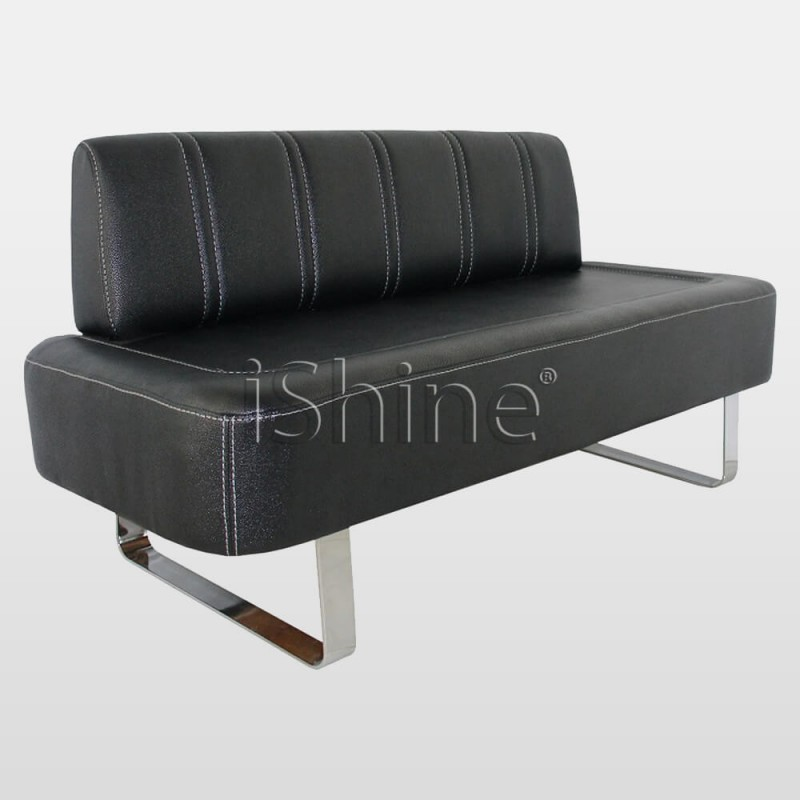 BILLET Black Waiting Chair with White Stitching IS003